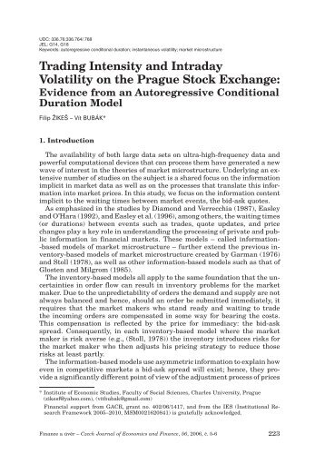 Trading Intensity and Intraday Volatility on the Prague Stock Exchange