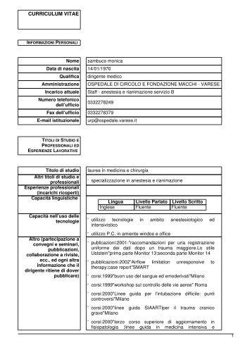 sambuco monica - Ospedale di Circolo e Fondazione Macchi