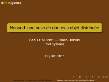 Neopod: une base de données objet distribuée - RMLL 2011