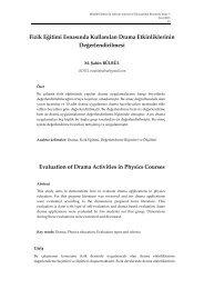 Fizik Eğitimi Esnasında Kullanılan Drama Etkinliklerinin ... - majer