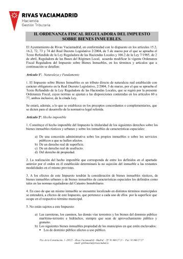 Ordenanza fiscal reguladora del Impuesto sobre Bienes Inmuebles.