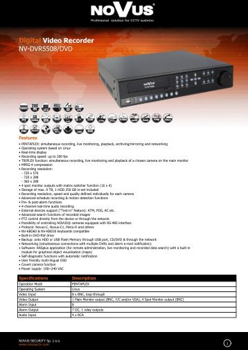 Digital Video Recorder NV-DVR5508/DVD
