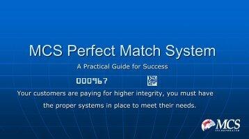 MCS Perfect Match Best Pratices