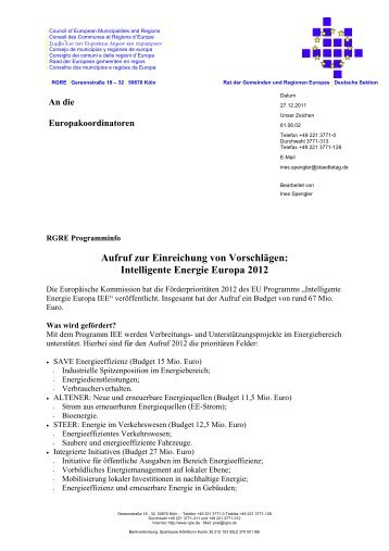 Intelligente Energie Europa IEE - EUROPE DIRECT in Hagen