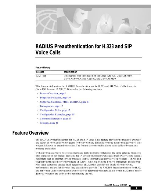 RADIUS Preauthentication for H 323 and SIP     - VOIP Information