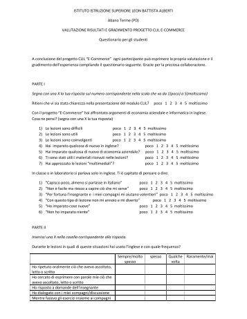 5 CLIL Alberti EComm.. - Istituto Istruzione Superiore Giovanni Valle