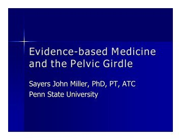 Evidence-based Medicine and the Pelvic Girdle