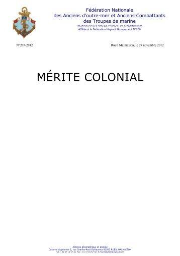 MÉRITE COLONIAL - Anciens du RICM
