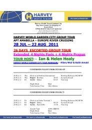 28 JUL – 22 AUG 2011 TOUR HOST: - Ian & Helen Healy