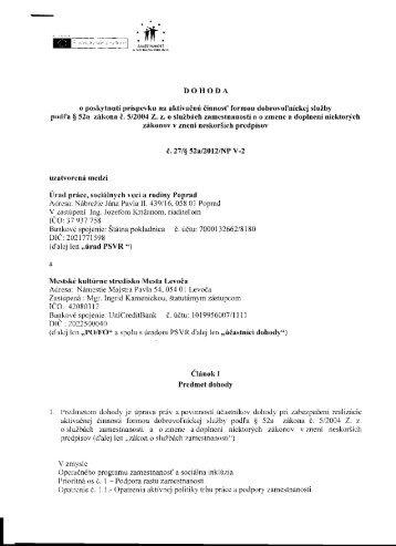 dohoda o poskytnutí príspevku