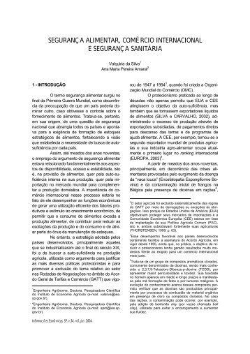 SEGURANÇ A ALIMENTAR, COMÉ RCIO INTERNACIONAL E ... - IEA