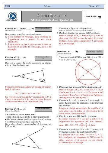 Contrôle 2010 - CAPES de Maths