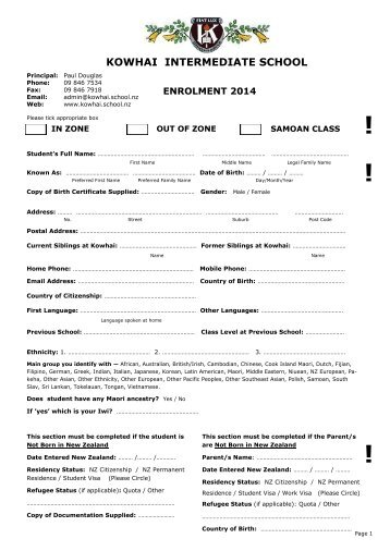 2014 Enrolment Form - Kowhai Intermediate School
