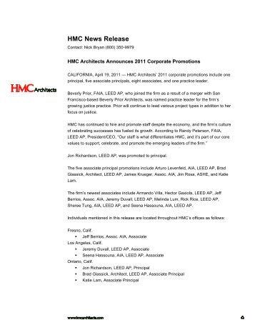 2011 Corp Promotions - HMC Blog - HMC Architects