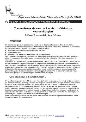 Traumatismes Graves du Rachis : La Vision du ... - CHU de Rouen