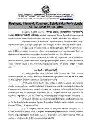 Regimento interno do congresso estadual de profissionais - Crea-RS