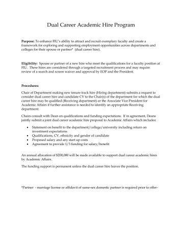 Dual Career Academic Hire Program - Academic Affairs