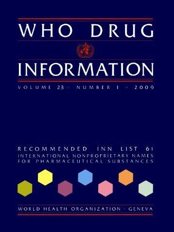 WHO Drug Information Vol. 23, No. 1, 2009 - World Health ...