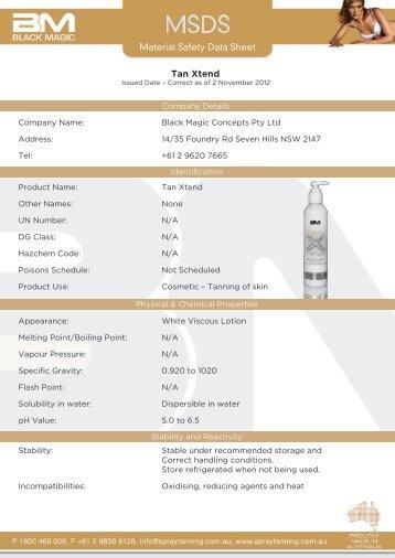Material Safety Data Sheet Tan Xtend - Black Magic Spray Tanning