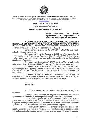 Norma nº 005/2010 - Crea-RS