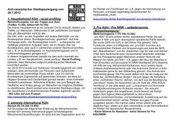 Flyer zum Stadtspaziergang mit kmii am 20 - No Border Camp