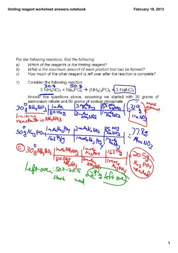 Limiting Reagent Worksheet (c)2002 Cavalcade Publishing, All ...