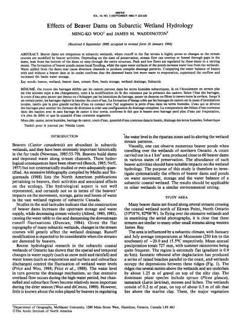 Effects of Beaver Dams on Subarctic Wetland Hydrology - AINA