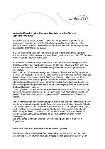 wertkreis Gütersloh gGmbH zu den Skandalen um Bio-Eier und ...
