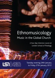 Ethnomusicology - London School of Theology
