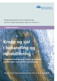 Kropp og sjel i behandling og rehabilitering - Research in Faith and ...