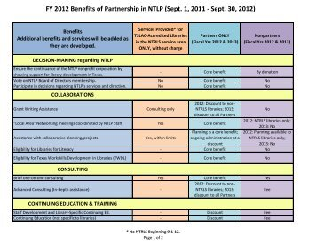 FY 2012 Benefits of Partnership in NTLP (Sept. 1, 2011 - Sept. 30 ...