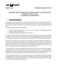 Rapport de l'enquête de satisfaction - SSP - Vaud / Syndicat des ...
