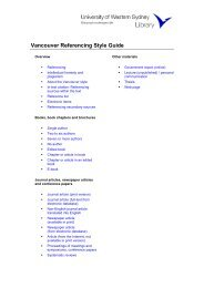 Vancouver Referencing Style Guide - UWS Library - University of ...