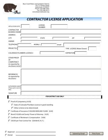 contractor license application - Bear Creek Water and Sanitation ...
