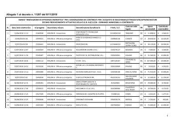 1 Allegato 1 al decreto n. 11207 del 8/11/2010