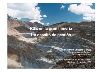 RSE en la gran mineria un desafio de gestion - Sonami