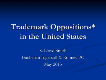 Lloyd Smith Presents on U.S. Trademark Oppositions in London, UK