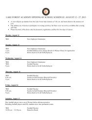 lake forest academy opening of school schedule: august 12 - 27, 2013