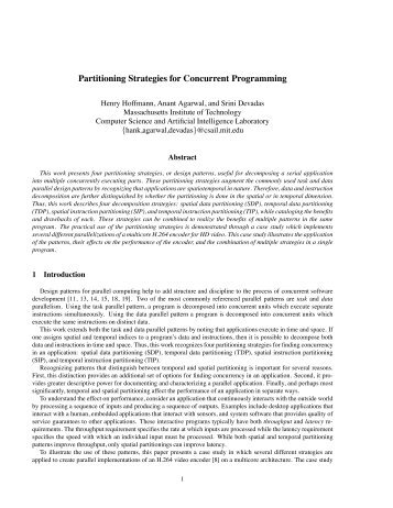 Partitioning Strategies for Concurrent Programming - Par Lab