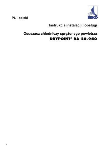 Instrukcja instalacji i obsługi Osuszacz chłodniczy sprężonego ...