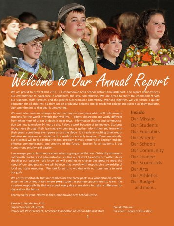 Welcome to Our Annual Report - Oconomowoc Area School District