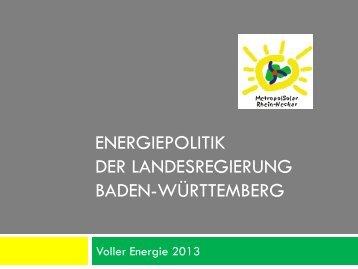 Energiepolitik der grün-roten Landesregierung - Wolfgang Raufelder