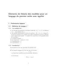 Eléments de théorie des modèles pour un langage du ... - iFAC