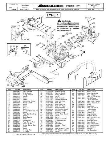 Mcculloch Pro Mac 610 Chainsaw Manual
