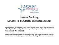 Home Banking SECURITY FEATURE ENHANCEMENT - YOUR ...