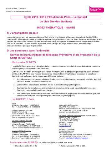 Etudiant de Paris - Le Conseil - index thématique santé