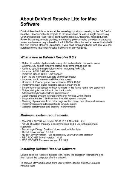 About Davinci Resolve Lite For Mac Software Blackmagic Design