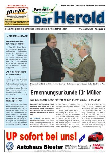 Ernennungsurkunde für Müller - beim Herold Pattensen