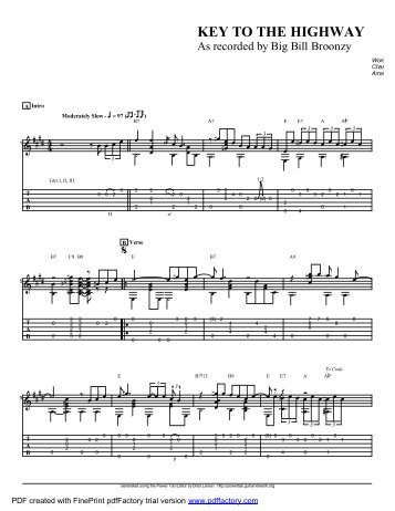 """""""Key To The Highway"""" (PDF) - Guitar Alliance"""