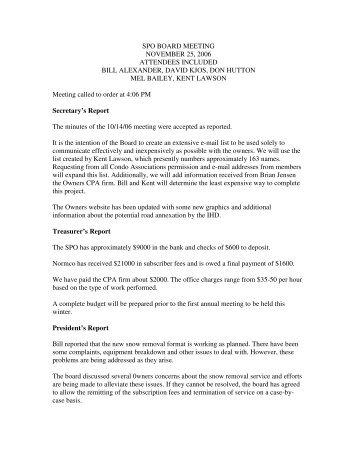 11/12/06 Board Minutes - Schweitzerowners.org